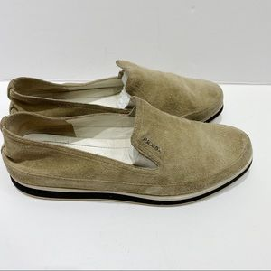 Prada suede tan slip on loafers